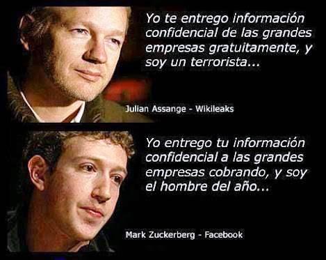 """Assange continùa refugiado en la embajada ecuatoriana de Londres acusado de terrorista. Zuckerberg fue declarado """"Hombre del año 2012 y hoy es uno de los hombres mas ricos."""
